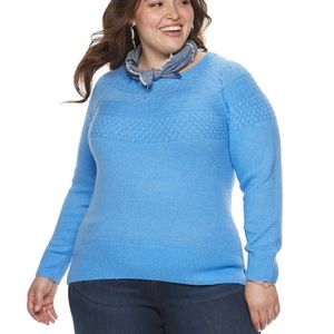Plus Size EVRI Crewneck Pointelle Sweater